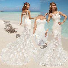 2016 Long Column White Lace Beach Wedding Dresses Sweep Train With Jacket…