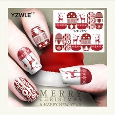 0.11$  Buy now - http://aliw7t.shopchina.info/go.php?t=32737334251 - YZWLE 1 Sheet Christmas Design DIY Decals Nails Art Water Transfer Printing Stickers Accessories For Manicure Salon (YZW-2129) 0.11$ #buyonline