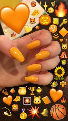 Trendy Yellow Nail Art Designs To Make You Stunning In Summer;Acrylic Or Gel Nails; French Or Coffin Nails; Matte Or Glitter Nails; Diy Yellow Nails, Orange Acrylic Nails, Yellow Nails Design, Summer Acrylic Nails, Summer Nails, Acrylic Colors, Nail Pink, Orange Design, Diy Nail Designs
