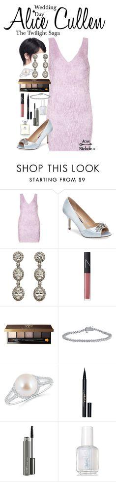 """The Twilight Saga: Wedding Day: Alice Cullen"" by jess-nichole ❤ liked on Polyvore featuring Topshop, Nina, Fantasia by DeSerio, NARS Cosmetics, Bobbi Brown Cosmetics, Stila, MAC Cosmetics, Essie and Chanel"