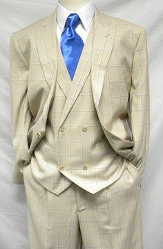 Steven Land Mens Tan Blue Plaid DB Vest Suit Walter SL77-042