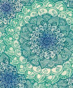 green blue pattern floral