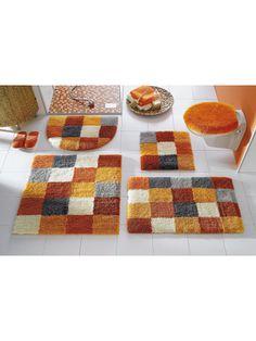 badmatten: Badmatten met een motief in blokken.