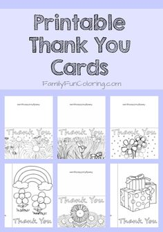 Printable Thank You Cards to Color - FamilyFunColoring #printables #coloringpages #kids