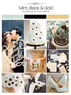 Mint, black and gold wedding inspiration board, color palette, mood board via Weddings Illustrated