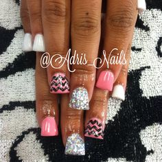 Sparkley flared acrylic nails with chevron