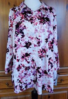 Apt 9 Sateen Floral Button Down Shirt Womens plus 2X NWT 3/4 Sleeve Top Stretch #Apt9 #ButtonDownShirt #Career