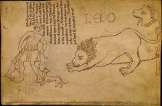 """Lion et dompteur. De l'album de Villard de Honnecourt  http://medieval.mrugala.net/Architecture/Villard%20de%20Honnecourt/ (planche 47). D'autres liens: http://expositions.bnf.fr/bestiaire/feuille/index_lion.htm http://expositions.bnf.fr/recherche/index.php (y taper """"bestiaire"""") http://misraim3.free.fr/divers2/album_villard_de_honnecourt.pdf http://european-art.findthebest.com/l/30754/Lion-drawn-from-life"""