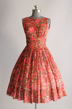 1950's Jonathan Logan Rose Print Dress <3