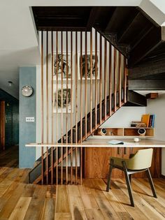 """Yay or Nay: Step Up Your Staircase Game with This Modern Design Trend? Vinegar Hill Brooklyn apartment via General Assembly uses a staircase screen to add design interest. See how to """"Step Up Your Staircase Game with This Modern Design Trend"""" Apartamento No Brooklyn, Industrial Workspace, Industrial Style, Industrial Lamps, Industrial Living, Industrial Design, Brooklyn Apartment, Apartment Office, Apartment Renovation"""