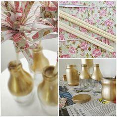 E se Esta Casa Fosse Minha!? tinta spray dourada suvinil + hashi + papel de presente + vidrihos de leite de coco