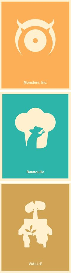 "Pixar Minimalist Poster Set - Monsters Inc, A Bug's Life, Toy Story, The Incredibles, Finding Nemo, Up, Wall-E, Brave and Ratatouille 8""x10"""