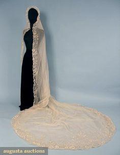 Brussels Lace Wedding Veil, C. 1910, Augusta Auctions, October 2006 Vintage Clothing & Textile Auction, Lot 246