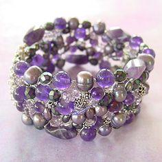 purple reign side (thats Headley Jewelry Designs) Tags: silver wire purple lavender jewelry thai bracelet handcrafted pearl sterling amethyst woven cuff artsisan