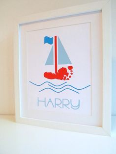 Personalised footprint sailboat papercut  by ForeverCherishedxx