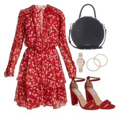 A fashion look from March 2018 featuring floral print dress, chunky heel sandals and leather handbags. Browse and shop related looks. Classy Outfits, Chic Outfits, Dress Outfits, Casual Dresses, Fashion Dresses, Moda Fashion, Womens Fashion, Mode Ootd, Moda Instagram