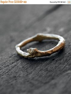 Solid Gold Twig Ring Men Woman Unisex Twig by ClaudetteTreasures