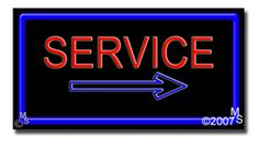 "Service Neon Sign - 20"" x 37""-ANS1500-6248-R  37"" Wide x 20"" Tall x 3"" Deep  Flashing Border ""ON/OFF"" switch  Sign is mounted on an unbreakable black or clear Lexan backing  Top and bottom protective sides  110 volt U.L. listed transformer fits into a standard outlet  Hanging hardware & chain included  6' Power cord with standard transformer  For indoor use only  1 Year Warranty on electrical components."