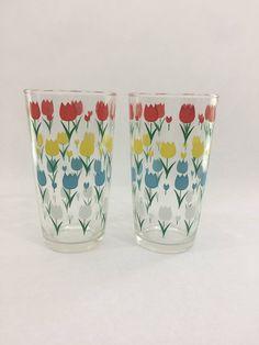 Pair of Vintage Hazel Atlas Tulip Glasses/Small Flower Vase, Vintage Glassware, 1950's by LakesideVintageShop on Etsy