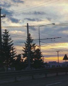#sunset #trees #road #sky #my📷❤ Utility Pole, Trees, Sky, Celestial, Sunset, Photos, Photography, Outdoor, Heaven