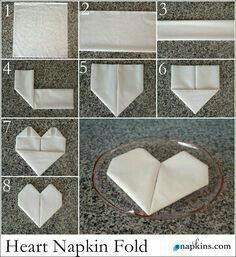 How to Fold a Napkin into a Heart. Ideal for dressing up wedding place settings, . How to Fold a Napkin into a Heart. Ideal for dressing up wedding place settings, … How to fold a Wedding Napkins, Wedding Table, Fancy Napkin Folding, Folding Paper Napkins, Origami Wedding, Wedding Place Settings, Wedding Places, Decoration Table, Table Settings