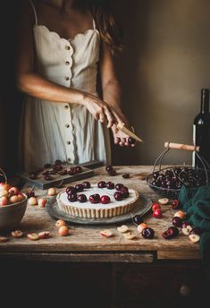 This Coconut Malabi Tart is gluten-free, dairy-free, vegan friendly, and topped with toasted coconut and cherries cooked in a wine syrup. Cooking Photography, Food Photography Styling, Food Styling, Cheesecake Toppings, Cherry Wine, Cherry Tart, Toasted Coconut, Sweet Recipes, Dairy Free