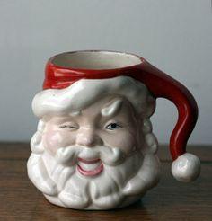 Vintage Santa Mug - Ceramic - Winking, Retro, Santa Claus Mug