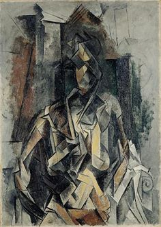 Picasso - cubism Abstraction of the human form by focusing on geometric shapes and lines. Interesting use of a variation of brown & white tones to create depth