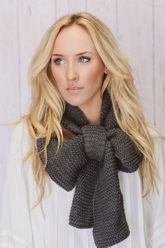 Knitted Bow Scarf Chunky Neck Warmer Wrap Smoke by ThreeBirdNest, $68.00