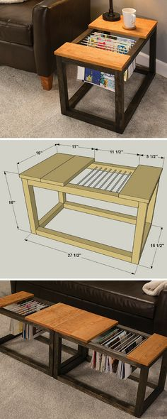 How to build a DIY Magazine Rack End Table | Free printable project plans at buildsomething.com | Here's a convenient, stylish way to store your favorite magazines close at hand but out of the way. This clever table features a cutout area with aluminum rods that allow you to hang magazines instead of stack them. You can build one as an end table, or pair two together to make a coffee table.