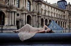 Paris Editorial by Vancouver Wedding Photographer Ophelia Photography.  Photograph taking at the Louvre.  Make-Up by Carly Flint.