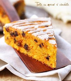 Carrots and chocolate tart Romanian Desserts, Romanian Food, No Cook Desserts, Easy Cake Recipes, Sweet Cakes, Carrot Cake, Sweet Treats, Deserts, Good Food