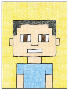 Learn how to draw a Minecraft Selfie by using a grid template and your math skills to create a symmetrical portrait made totally out of small squares. Minecraft Activities, Minecraft Art, Kids Learning Activities, Kids Art Class, Art For Kids, Projects For Kids, Art Projects, Mario Crafts, Art Lessons Elementary