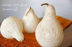 quick glue-decorated gourds #centerpiece for your #fall table on www.CherylStyle.com