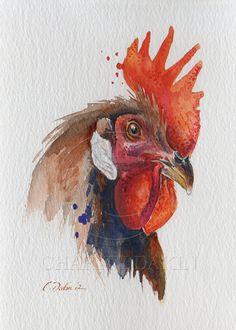 Brown Leghorn Rooster 5 x 7 Original Watercolor by CharityDakin, $45.00