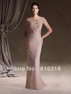 Free Shipping New Arrival Mermaid Lace Beaded Cap Sleeve Long Elegant Satin Mother Dresses Mother of the Groom Dresses $187.00