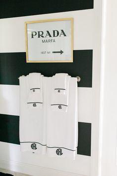 Monogram hand towels + Prada Marfa Art #HomeDecor #BlackAndWhite