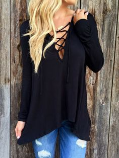 Shop Black V Neck Lace Up Loose T-Shirt online. SheIn offers Black V Neck Lace Up Loose T-Shirt & more to fit your fashionable needs.
