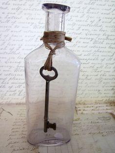 Vintage Antique Medicine Bottle with Skeleton key by tuscanroad, $10.00