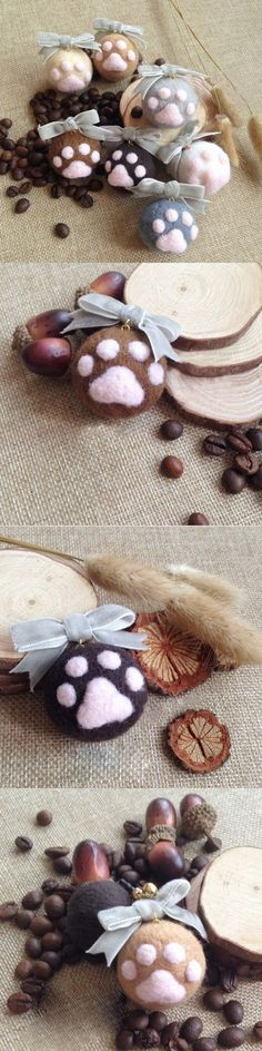 Handmade needle felted felting cute animal project cat claws keychain keycharms