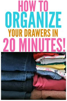 How to Organize Drawers In 20 Minutes Are your drawers so cluttered you can't find anything? Check out this tutorial on how to organize drawers in 20 minutes or less! Clothes Drawer Organization, Bedroom Storage Ideas For Clothes, Life Organization, Organization Ideas, Bedroom Organization, Organizing Life, Bathroom Drawers, Organize Dresser Drawers, Wardrobe Drawers