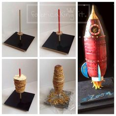 Rocket Cake - For all your cake decorating supplies, please visit… Cake Decorating Supplies, Cake Decorating Techniques, Cake Decorating Tutorials, Fondant Flower Cake, Fondant Cakes, 3d Cakes, Fondant Bow, Fondant Figures, Gravity Defying Cake