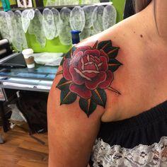 Rose tattoo traditional rose shoulder