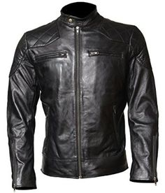 David Beckham Black Celebrity Biker Leather Jacket at Amazon Men's Clothing store: