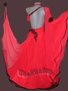Ballroom Standard Watlz Foxstep Tango Dance Dress US 6 UK 8 Red Balck Lace Color