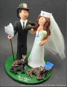 Fireman's Wedding Cake Topper   Here's a wedding cake topper done for some real heroes…. $235 #nurse#fireman#wedding #cake #toppers  #custom #personalized #Groom #bride #anniversary #birthday#wedding_cake_toppers#cake_toppers#figurine#gift