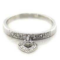 Designer Inspired by Tiffany Rhodium Plated Austrian Crystal Heart Ring Sz 7 Price reduced