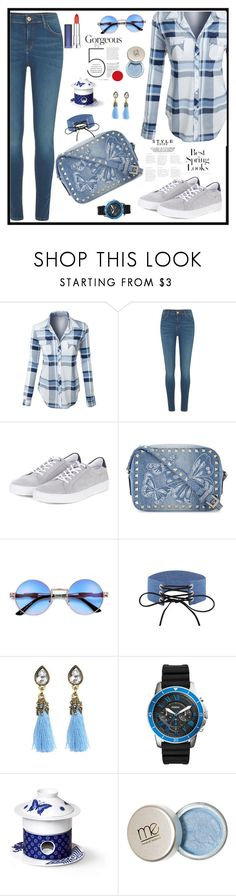 """Untitled #1921"" by ebramos ❤ liked on Polyvore featuring LE3NO, River Island, Barbour, Valentino, H&M, FOSSIL and Maybelline"
