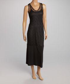 Love this Black Mesh Overlay Sleeveless Maxi Dress by AA Studio on #zulily! #zulilyfinds