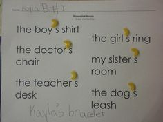 possessive nouns & macaroni-make a smart board lesson on this with a clothed past piece